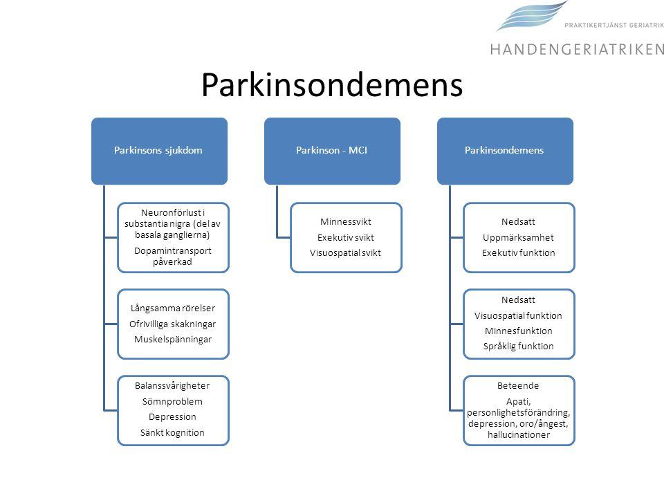 Parkinsondemens Parkinsons sjukdom Neuronförlust i substantia nigra (del av basala ganglierna) Dopamintransport påverkad Långsamma rörelser Ofrivillig