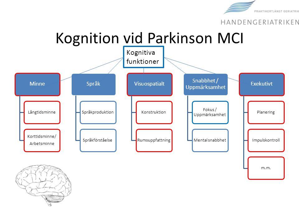 Kognition vid Parkinson MCI Minne Långtidsminne Korttidsminne/ Arbetsminne Språk SpråkproduktionSpråkförståelse Visuospatialt KonstruktionRumsuppfattn