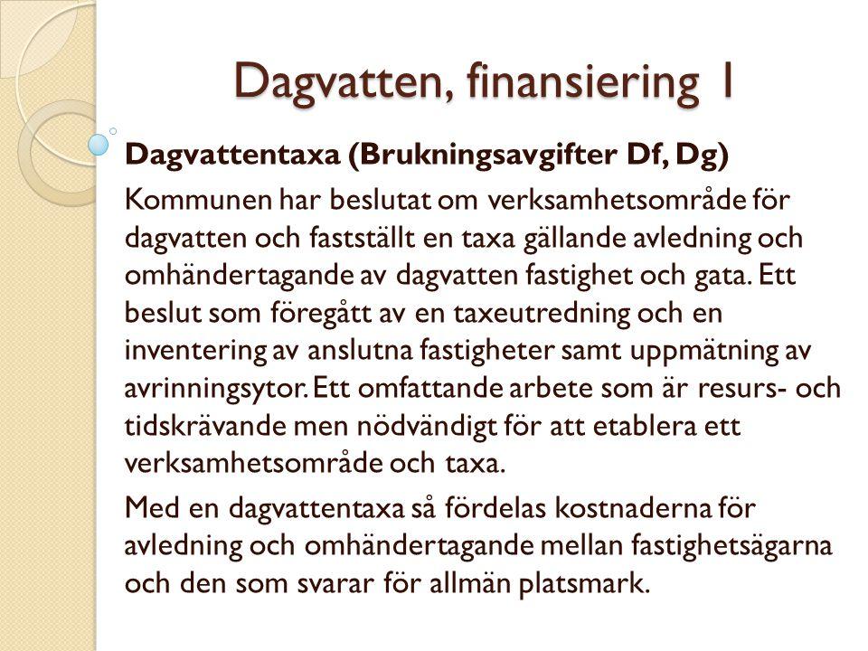 Dagvatten, finansiering 1 Dagvattentaxa (Brukningsavgifter Df, Dg) Kommunen har beslutat om verksamhetsområde för dagvatten och fastställt en taxa gäl