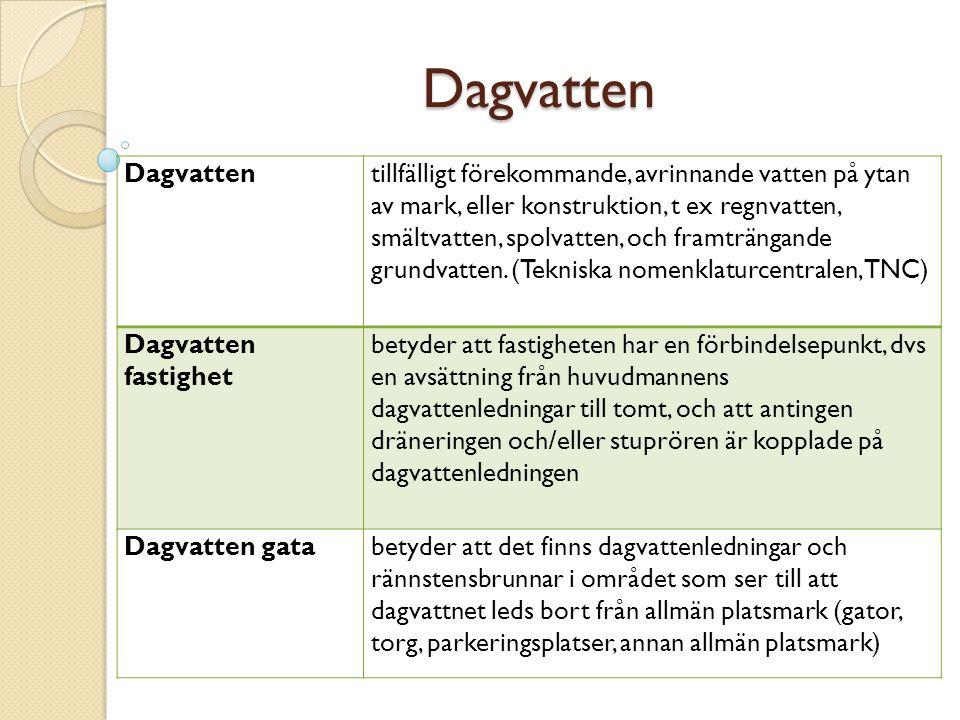 Dagvatten Dagvattentillfälligt förekommande, avrinnande vatten på ytan av mark, eller konstruktion, t ex regnvatten, smältvatten, spolvatten, och fram