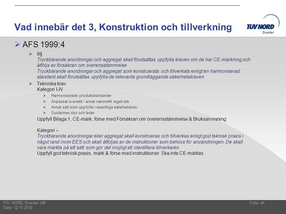 TÜV NORD Sweden AB Date: 12.11.2010 Folie: 13 Sweden Vad innebär det 3, Konstruktion och tillverkning  AFS 1999:4  9§ Tryckbärande anordningar och a