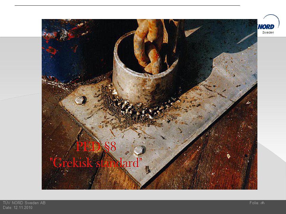 TÜV NORD Sweden AB Date: 12.11.2010 Folie: 15 Sweden