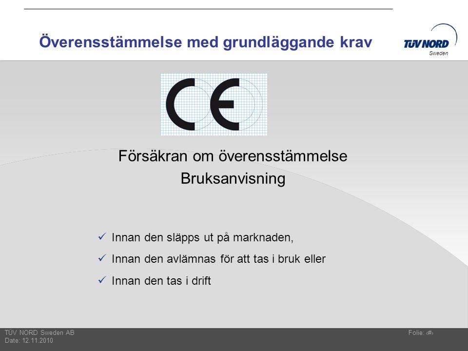 TÜV NORD Sweden AB Date: 12.11.2010 Folie: 16 Sweden Överensstämmelse med grundläggande krav Försäkran om överensstämmelse Bruksanvisning  Innan den