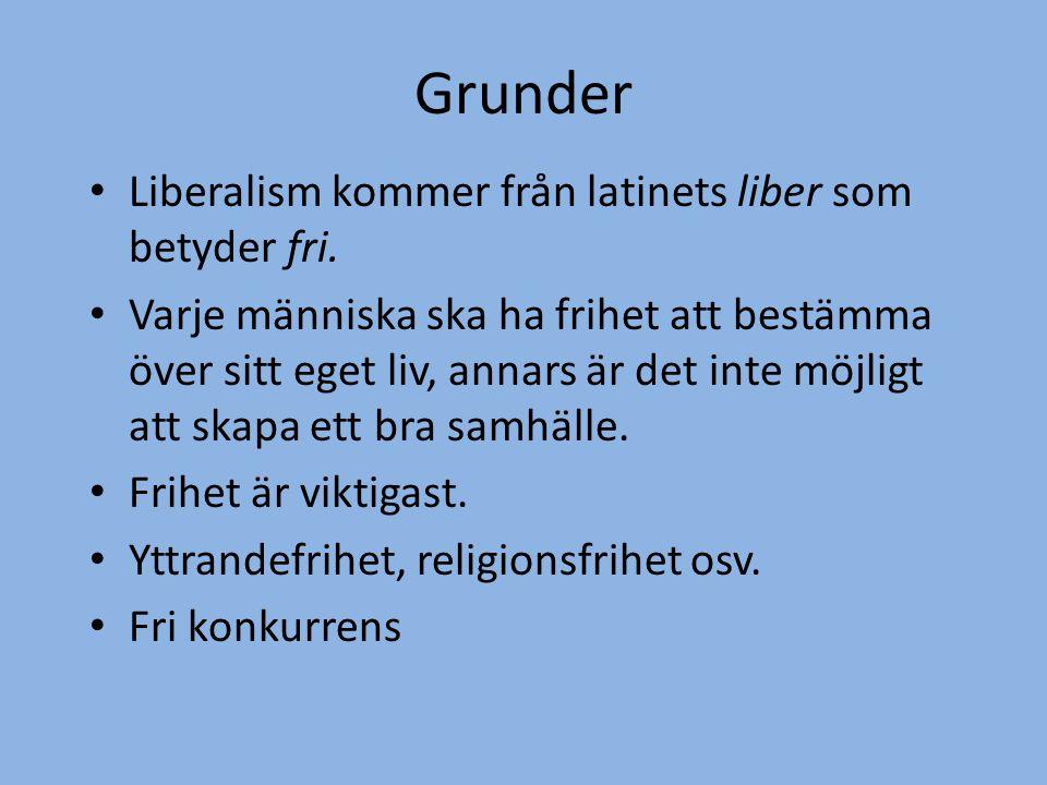 Grunder • Liberalism kommer från latinets liber som betyder fri. • Varje människa ska ha frihet att bestämma över sitt eget liv, annars är det inte mö
