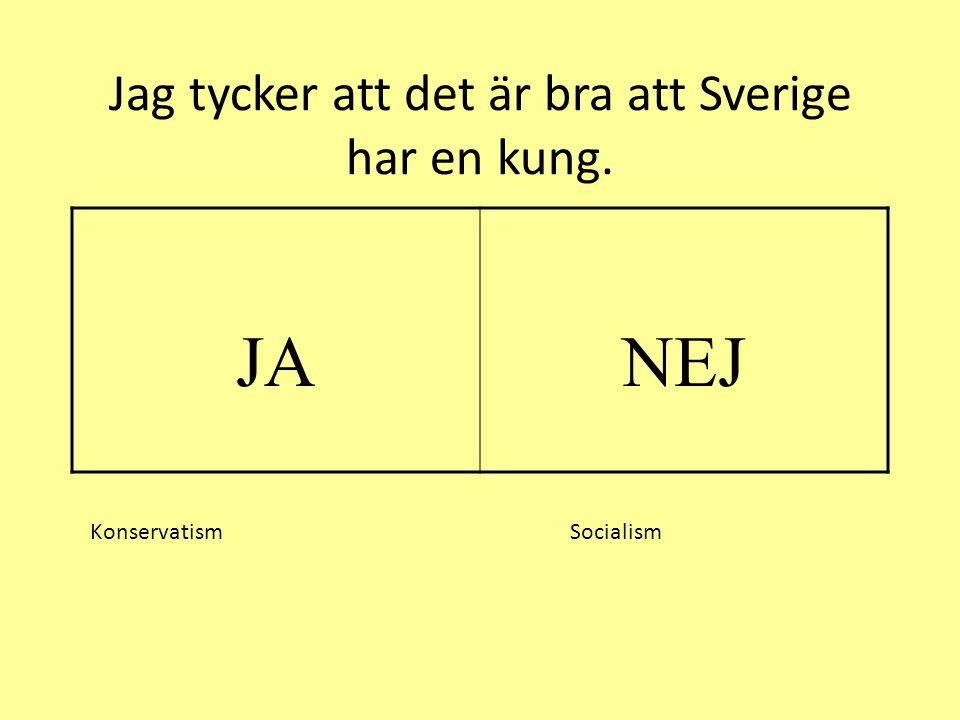 Jag tycker att det är bra att Sverige har en kung. JANEJ Konservatism Socialism