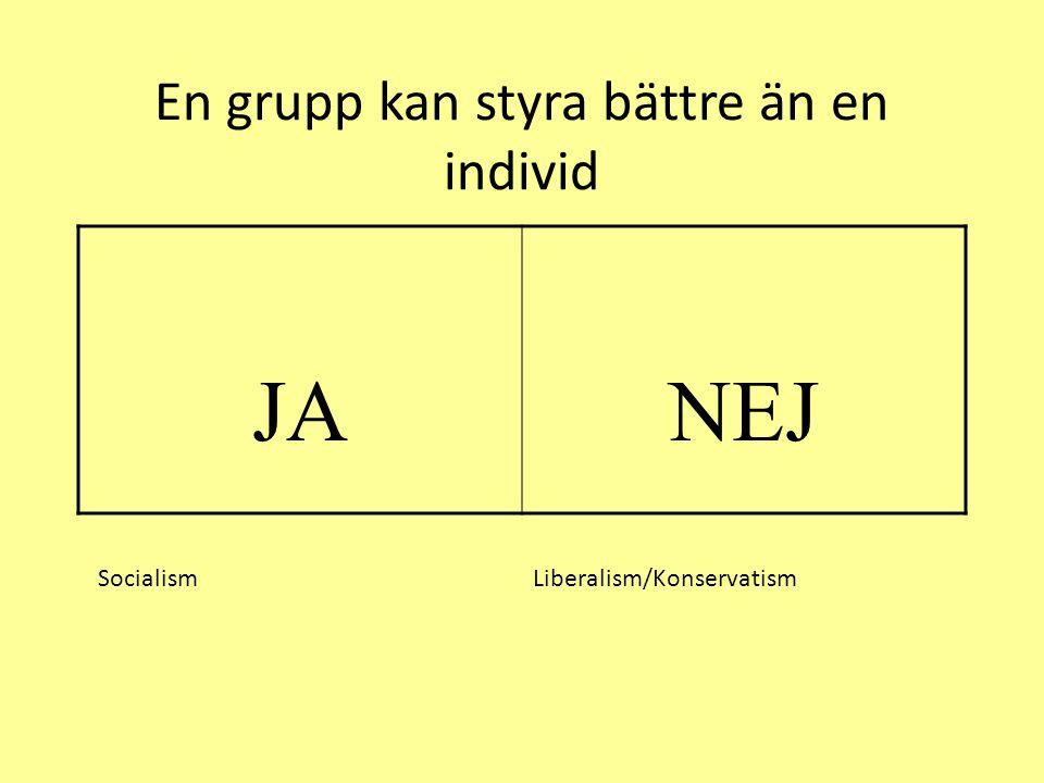 En grupp kan styra bättre än en individ JANEJ Socialism Liberalism/Konservatism