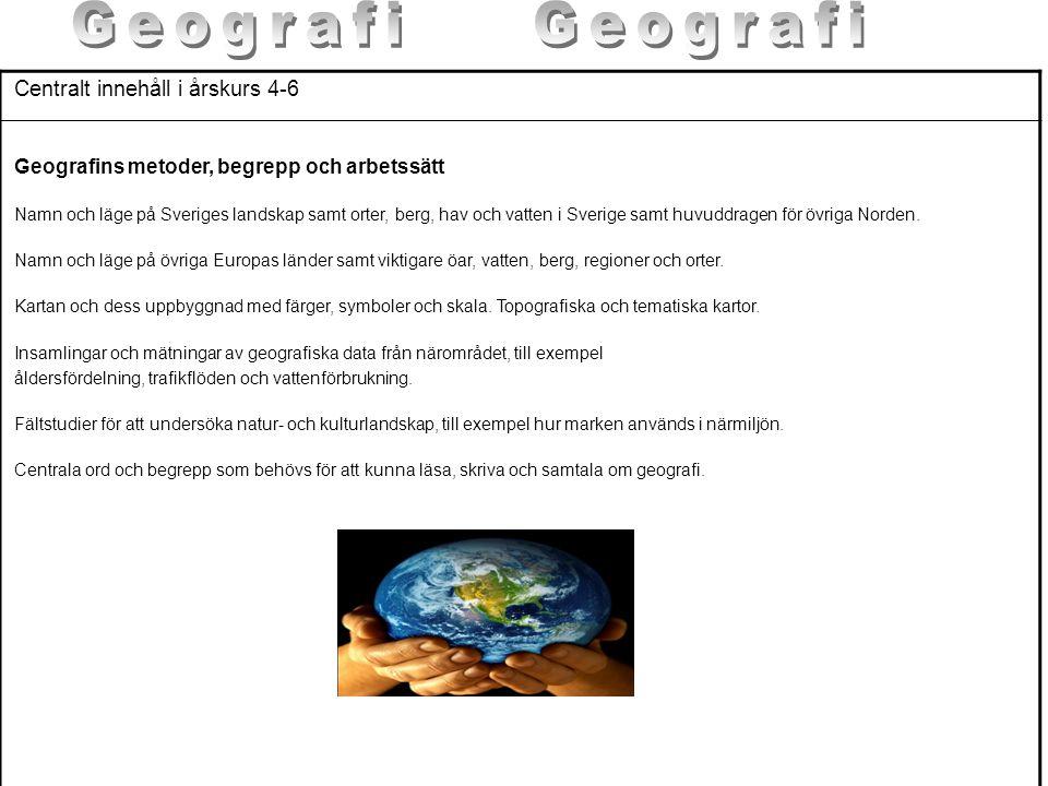 Centralt innehåll i årskurs 4-6 Geografins metoder, begrepp och arbetssätt Namn och läge på Sveriges landskap samt orter, berg, hav och vatten i Sveri