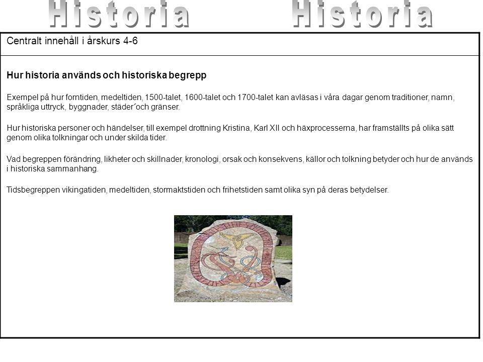 Centralt innehåll i årskurs 4-6 Hur historia används och historiska begrepp Exempel på hur forntiden, medeltiden, 1500-talet, 1600-talet och 1700-tale