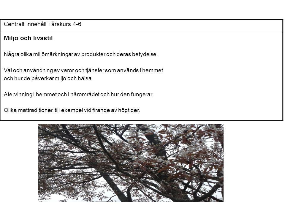 Centralt innehåll i årskurs 4-6 Miljö och livsstil Några olika miljömärkningar av produkter och deras betydelse. Val och användning av varor och tjäns