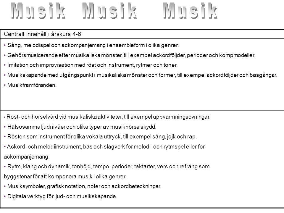 Centralt innehåll i årskurs 4-6 • Sång, melodispel och ackompanjemang i ensembleform i olika genrer. • Gehörsmusicerande efter musikaliska mönster, ti
