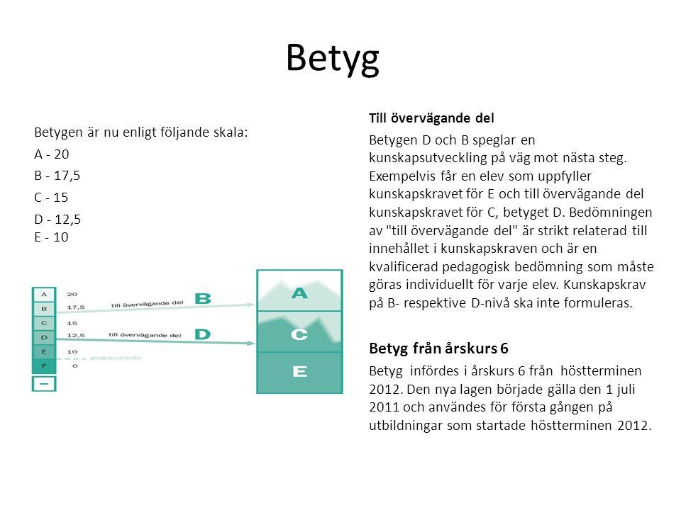 Betyg Till övervägande del Betygen D och B speglar en kunskapsutveckling på väg mot nästa steg. Exempelvis får en elev som uppfyller kunskapskravet fö