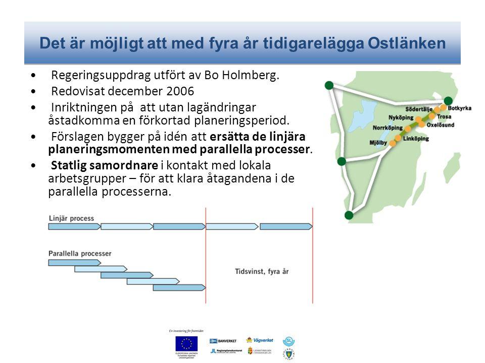 Det är möjligt att med fyra år tidigarelägga Ostlänken • Regeringsuppdrag utfört av Bo Holmberg. • Redovisat december 2006 • Inriktningen på att utan