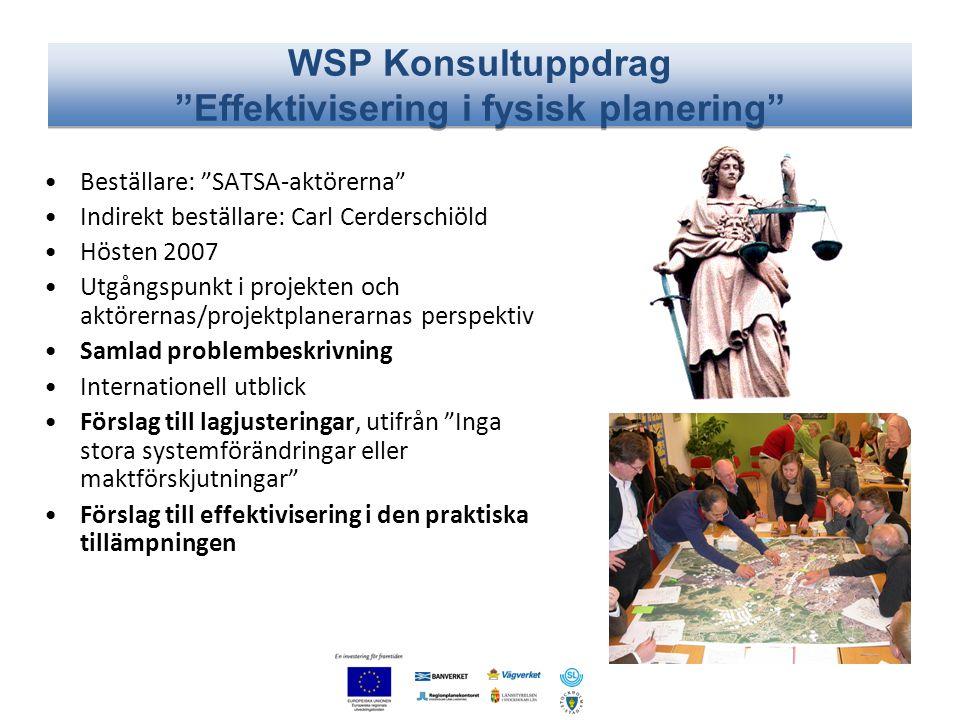 """WSP Konsultuppdrag """"Effektivisering i fysisk planering"""" •Beställare: """"SATSA-aktörerna"""" •Indirekt beställare: Carl Cerderschiöld •Hösten 2007 •Utgångsp"""
