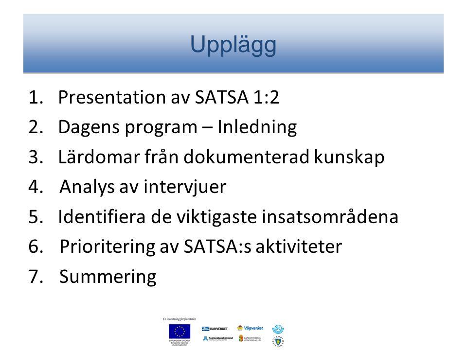 Upplägg 1. Presentation av SATSA 1:2 2. Dagens program – Inledning 3. Lärdomar från dokumenterad kunskap 4.Analys av intervjuer 5. Identifiera de vikt