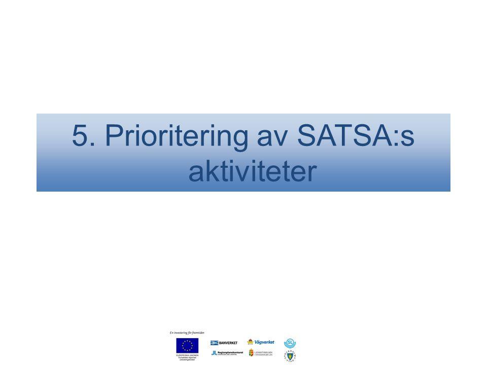5. Prioritering av SATSA:s aktiviteter