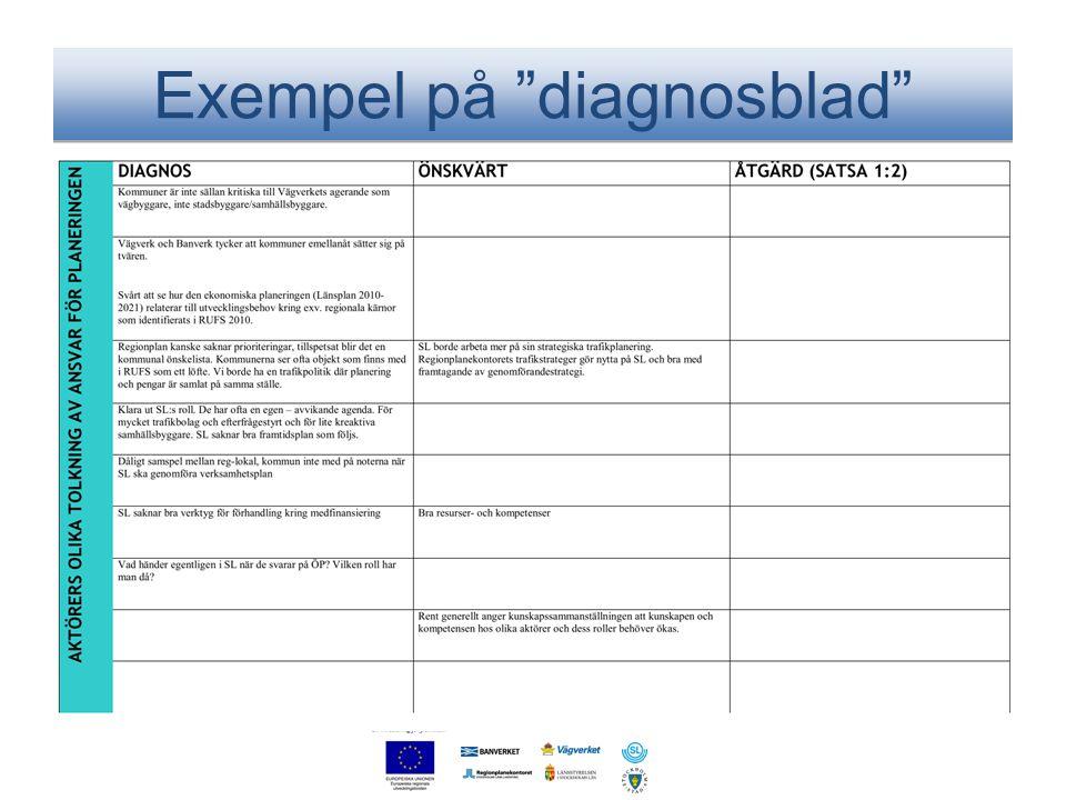 """Exempel på """"diagnosblad"""""""