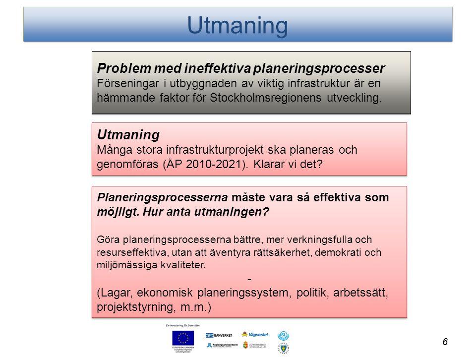 Utmaning Många stora infrastrukturprojekt ska planeras och genomföras (ÅP 2010-2021). Klarar vi det? Utmaning Många stora infrastrukturprojekt ska pla