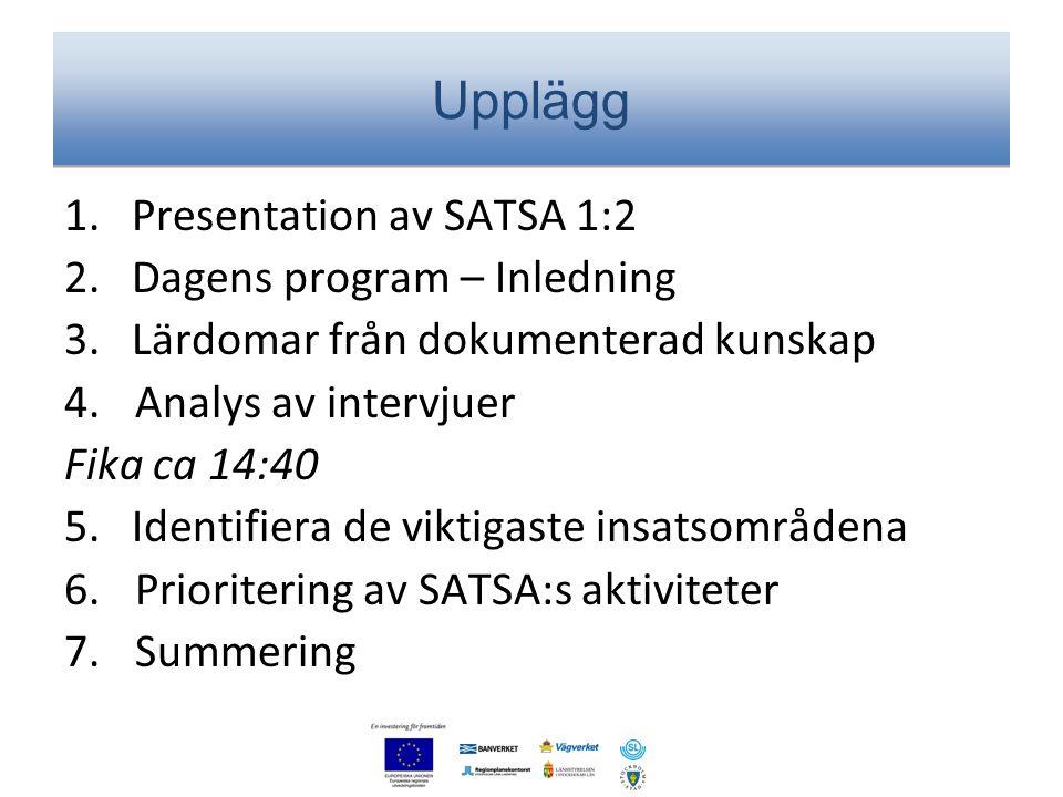 Upplägg 1. Presentation av SATSA 1:2 2. Dagens program – Inledning 3. Lärdomar från dokumenterad kunskap 4.Analys av intervjuer Fika ca 14:40 5. Ident