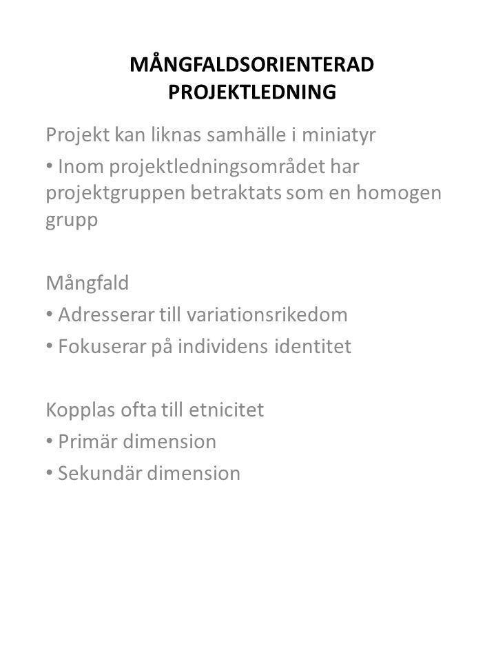 MÅNGFALDSORIENTERAD PROJEKTLEDNING Projekt kan liknas samhälle i miniatyr • Inom projektledningsområdet har projektgruppen betraktats som en homogen g