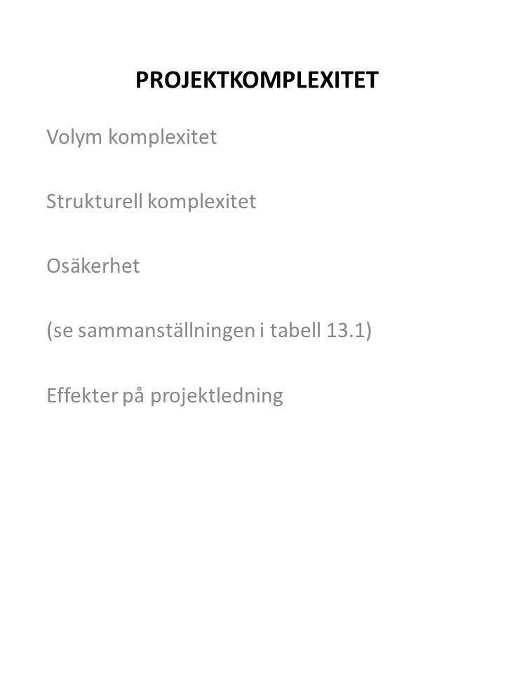 PROJEKTKOMPLEXITET Volym komplexitet Strukturell komplexitet Osäkerhet (se sammanställningen i tabell 13.1) Effekter på projektledning