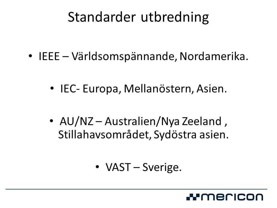 Standarder utbredning • IEEE – Världsomspännande, Nordamerika. • IEC- Europa, Mellanöstern, Asien. • AU/NZ – Australien/Nya Zeeland, Stillahavsområdet