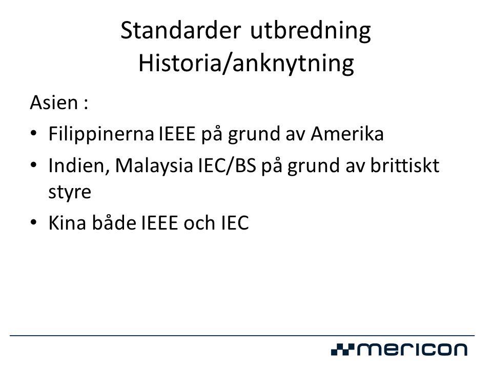 Standarder utbredning Historia/anknytning Asien : • Filippinerna IEEE på grund av Amerika • Indien, Malaysia IEC/BS på grund av brittiskt styre • Kina