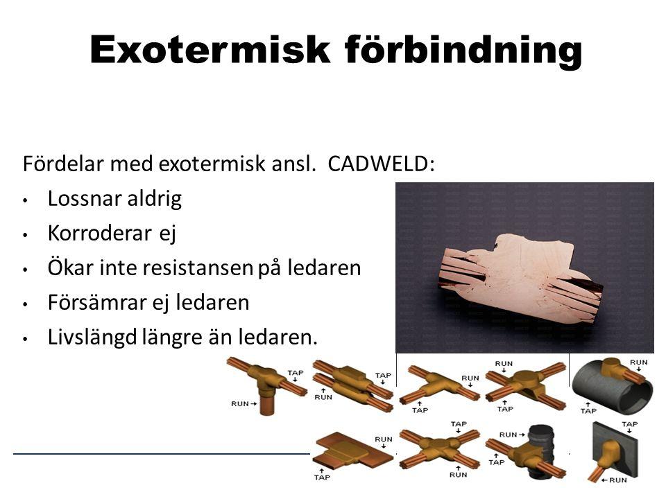 Exotermisk förbindning Fördelar med exotermisk ansl. CADWELD: • Lossnar aldrig • Korroderar ej • Ökar inte resistansen på ledaren • Försämrar ej ledar
