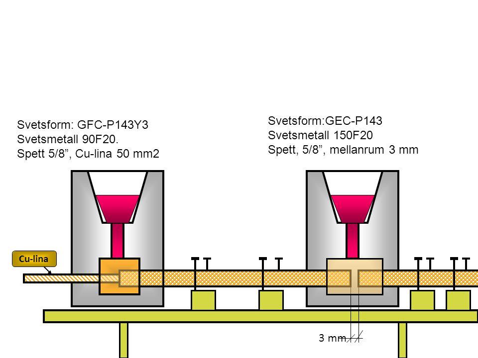 "Svetsform: GFC-P143Y3 Svetsmetall 90F20. Spett 5/8"", Cu-lina 50 mm2 Svetsform:GEC-P143 Svetsmetall 150F20 Spett, 5/8"", mellanrum 3 mm 3 mm Svetsning a"