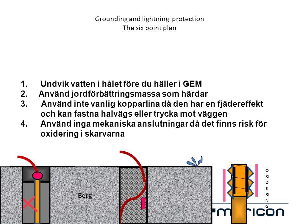 Grounding and lightning protection The six point plan 1.Undvik vatten i hålet före du häller i GEM 2. Använd jordförbättringsmassa som härdar 3. Använ