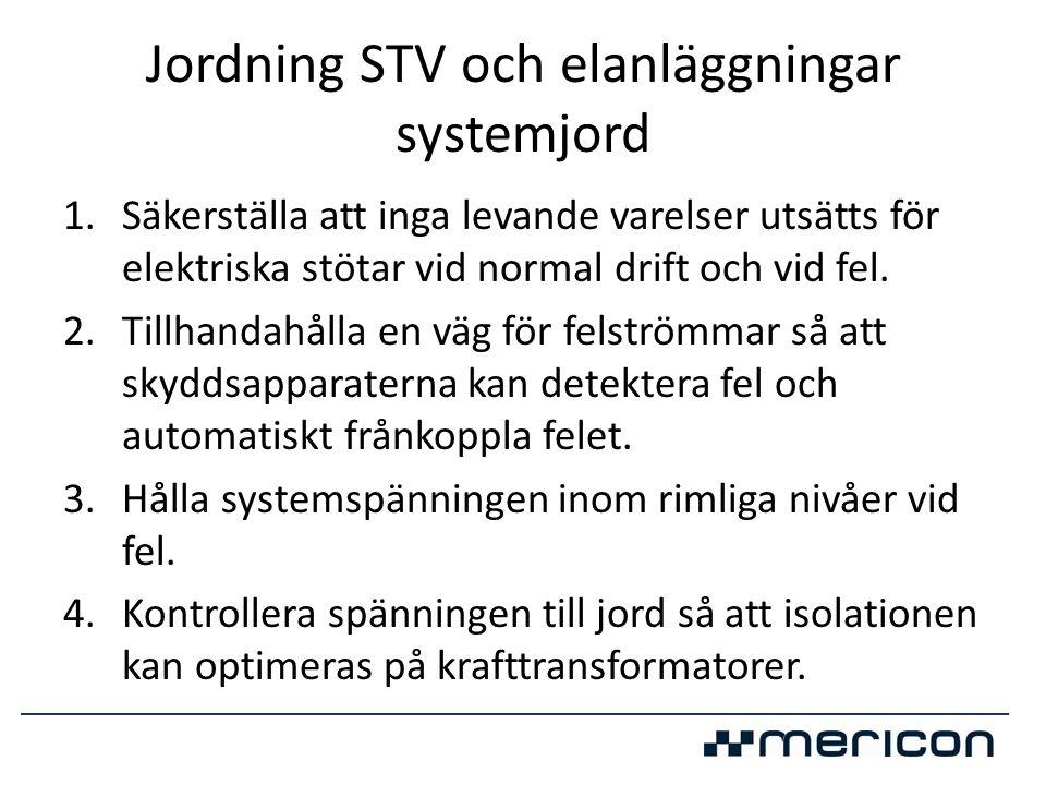 Jordning STV och elanläggningar systemjord 1.Säkerställa att inga levande varelser utsätts för elektriska stötar vid normal drift och vid fel. 2.Tillh