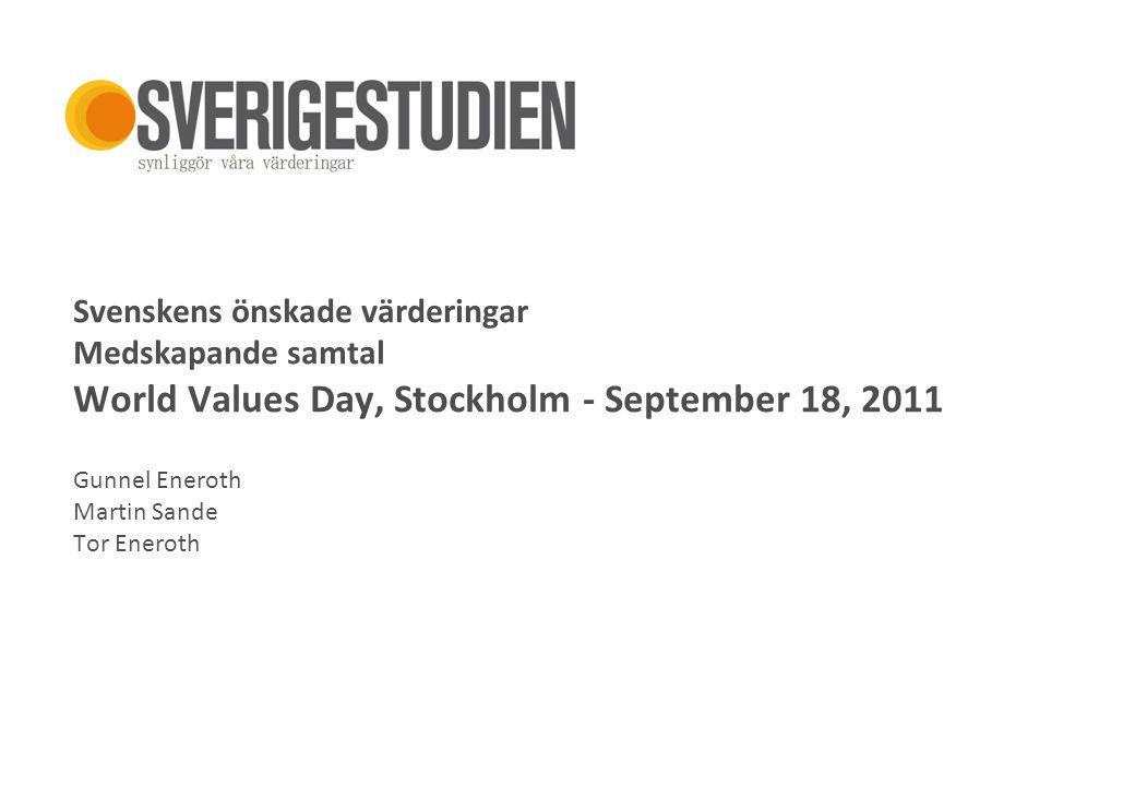 Sverige 2010+ Svenskens önskade värderingar Medskapande samtal World Values Day, Stockholm - September 18, 2011 Gunnel Eneroth Martin Sande Tor Enerot