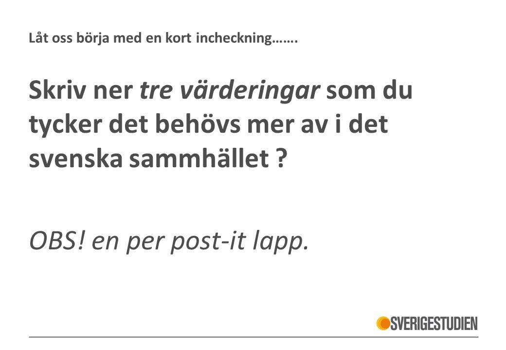 Låt oss börja med en kort incheckning……. Skriv ner tre värderingar som du tycker det behövs mer av i det svenska sammhället ? OBS! en per post-it lapp
