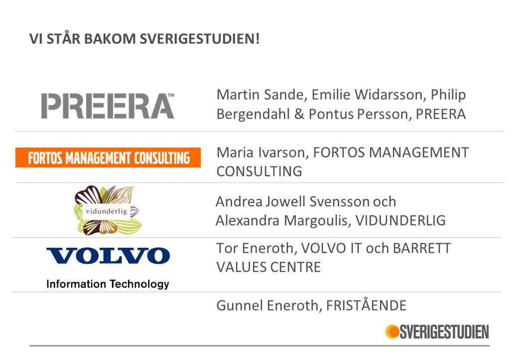 VI STÅR BAKOM SVERIGESTUDIEN! Martin Sande, Emilie Widarsson, Philip Bergendahl & Pontus Persson, PREERA Maria Ivarson, FORTOS MANAGEMENT CONSULTING T