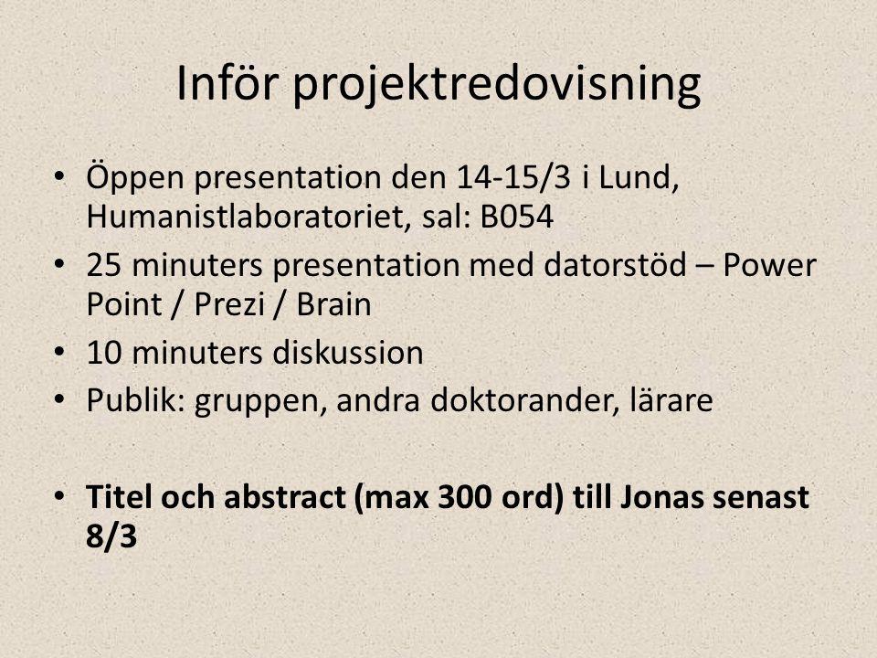 Inför projektredovisning • Öppen presentation den 14-15/3 i Lund, Humanistlaboratoriet, sal: B054 • 25 minuters presentation med datorstöd – Power Point / Prezi / Brain • 10 minuters diskussion • Publik: gruppen, andra doktorander, lärare • Titel och abstract (max 300 ord) till Jonas senast 8/3