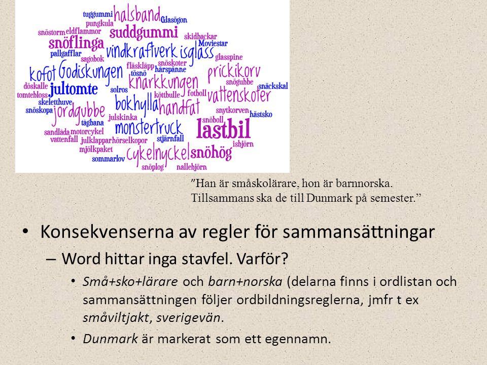 • Konsekvenserna av regler för sammansättningar – Word hittar inga stavfel.