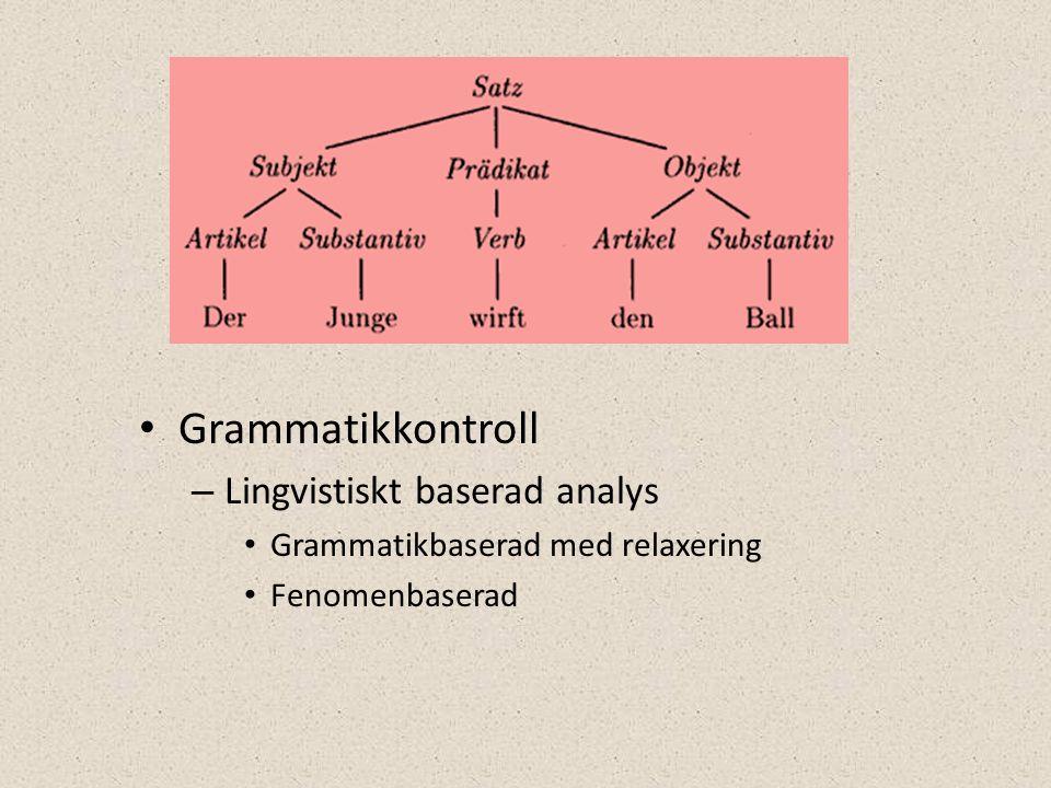 • Grammatikkontroll – Lingvistiskt baserad analys • Grammatikbaserad med relaxering • Fenomenbaserad