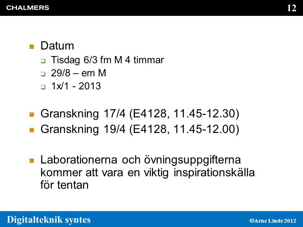 12 Digitalteknik syntes  Arne Linde 2012  Datum  Tisdag 6/3 fm M 4 timmar  29/8 – em M  1x/1 - 2013  Granskning 17/4 (E4128, 11.45-12.30)  Granskning 19/4 (E4128, 11.45-12.00)  Laborationerna och övningsuppgifterna kommer att vara en viktig inspirationskälla för tentan