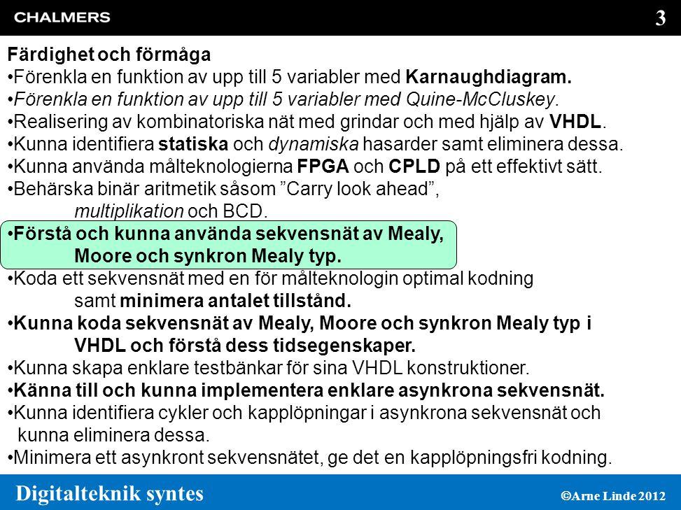 74 Digitalteknik syntes  Arne Linde 2012 Sammanfattning av regler för RTL syntes  Tilldela aldrig en variabel eller signal i mer än en process 'sensitivity' listanFörgreningar Kombinatoriskalla insignaler (signaler i högerledet täck alla logikvid tilldelningar och de som används i (eller default) IF och CASE satser latchar alla insignaler okomplett vipporKlockan och asynkron set/resetokomplett (if Clk event and Clk= 1 then)