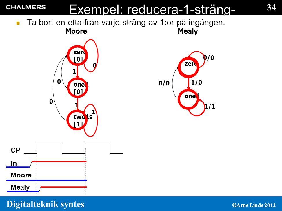 34 Digitalteknik syntes  Arne Linde 2012 Exempel: reducera-1-sträng- med-1  Ta bort en etta från varje sträng av 1:or på ingången.