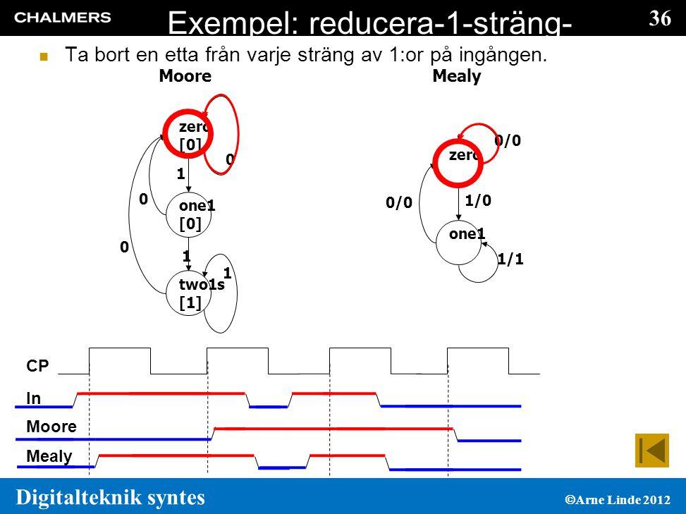 36 Digitalteknik syntes  Arne Linde 2012 Exempel: reducera-1-sträng- med-1  Ta bort en etta från varje sträng av 1:or på ingången.