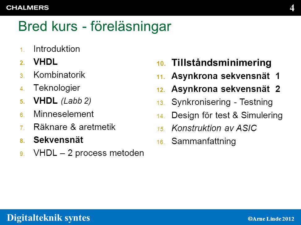 5 5 Digitalteknik syntes  Arne Linde 2012 Laborationer 1.