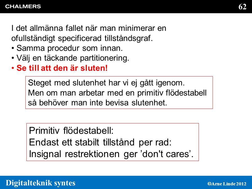 62 Digitalteknik syntes  Arne Linde 2012 I det allmänna fallet när man minimerar en ofullständigt specificerad tillståndsgraf.