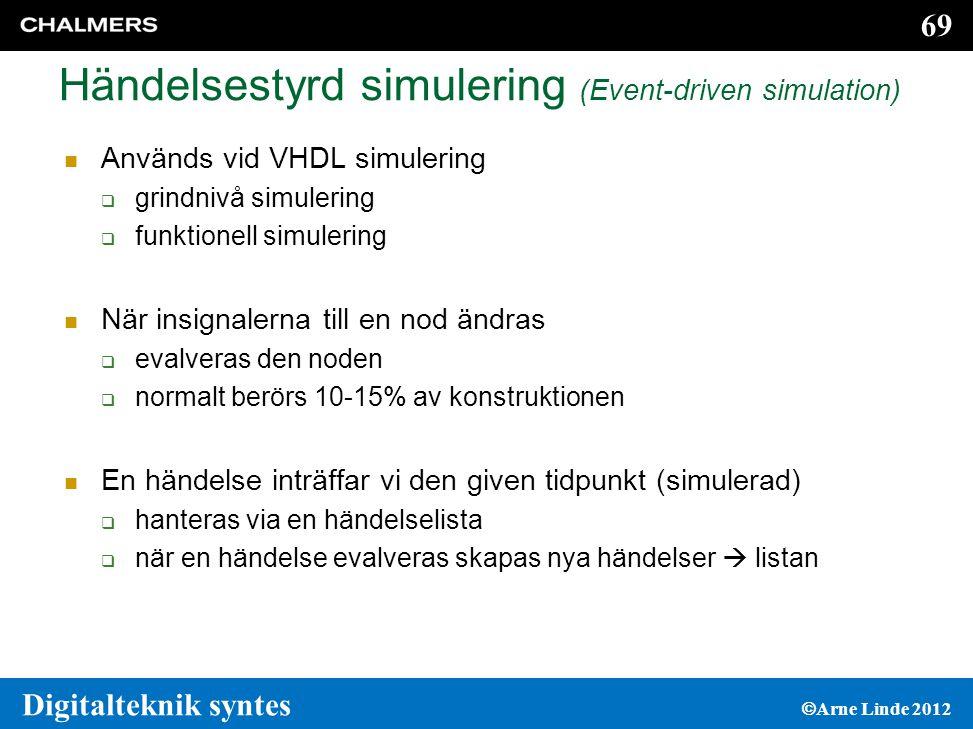 69 Digitalteknik syntes  Arne Linde 2012 Händelsestyrd simulering (Event-driven simulation)  Används vid VHDL simulering  grindnivå simulering  funktionell simulering  När insignalerna till en nod ändras  evalveras den noden  normalt berörs 10-15% av konstruktionen  En händelse inträffar vi den given tidpunkt (simulerad)  hanteras via en händelselista  när en händelse evalveras skapas nya händelser  listan