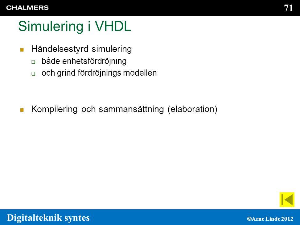 71 Digitalteknik syntes  Arne Linde 2012 Simulering i VHDL  Händelsestyrd simulering  både enhetsfördröjning  och grind fördröjnings modellen  Kompilering och sammansättning (elaboration)