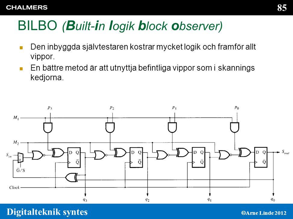 85 Digitalteknik syntes  Arne Linde 2012 BILBO ( B uilt- i n l ogik b lock o bserver)  Den inbyggda självtestaren kostrar mycket logik och framför allt vippor.