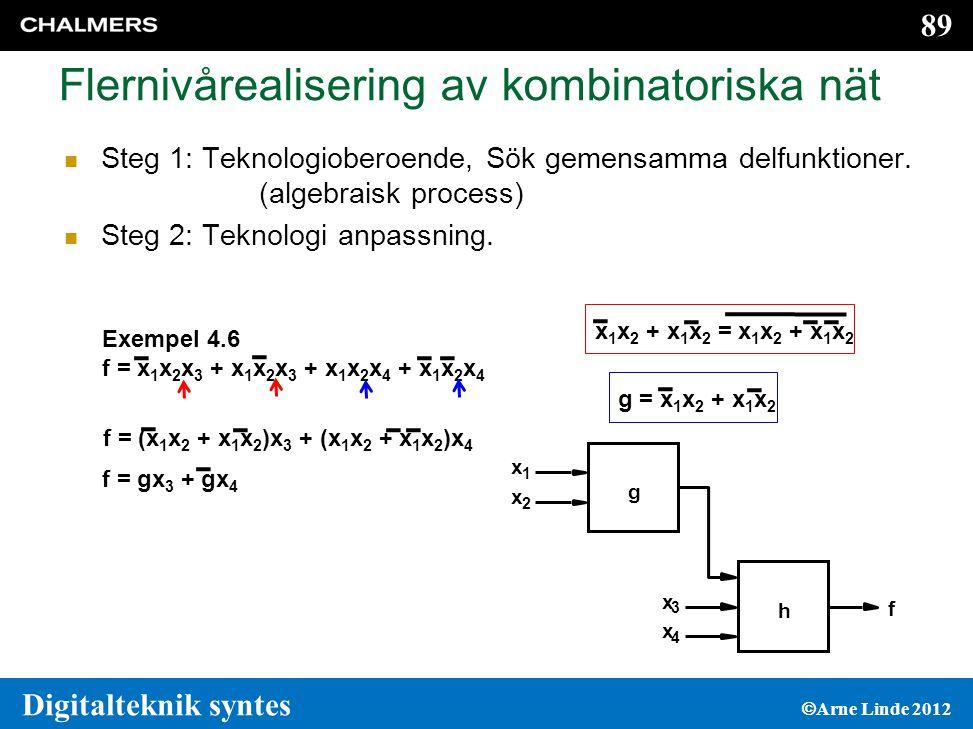 89 Digitalteknik syntes  Arne Linde 2012 Flernivårealisering av kombinatoriska nät  Steg 1: Teknologioberoende, Sök gemensamma delfunktioner.