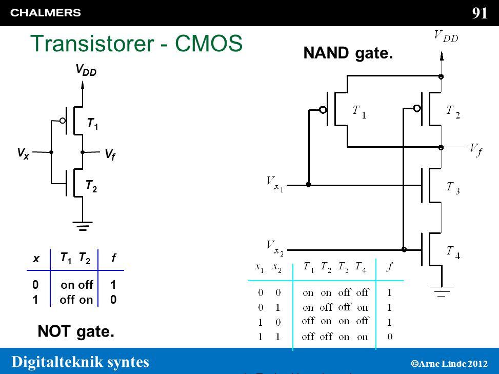 91 Digitalteknik syntes  Arne Linde 2012 Transistorer - CMOS V f V DD V x T 1 T 2 on off on 1 0 0 1 fx T 1 T 2 NOT gate.