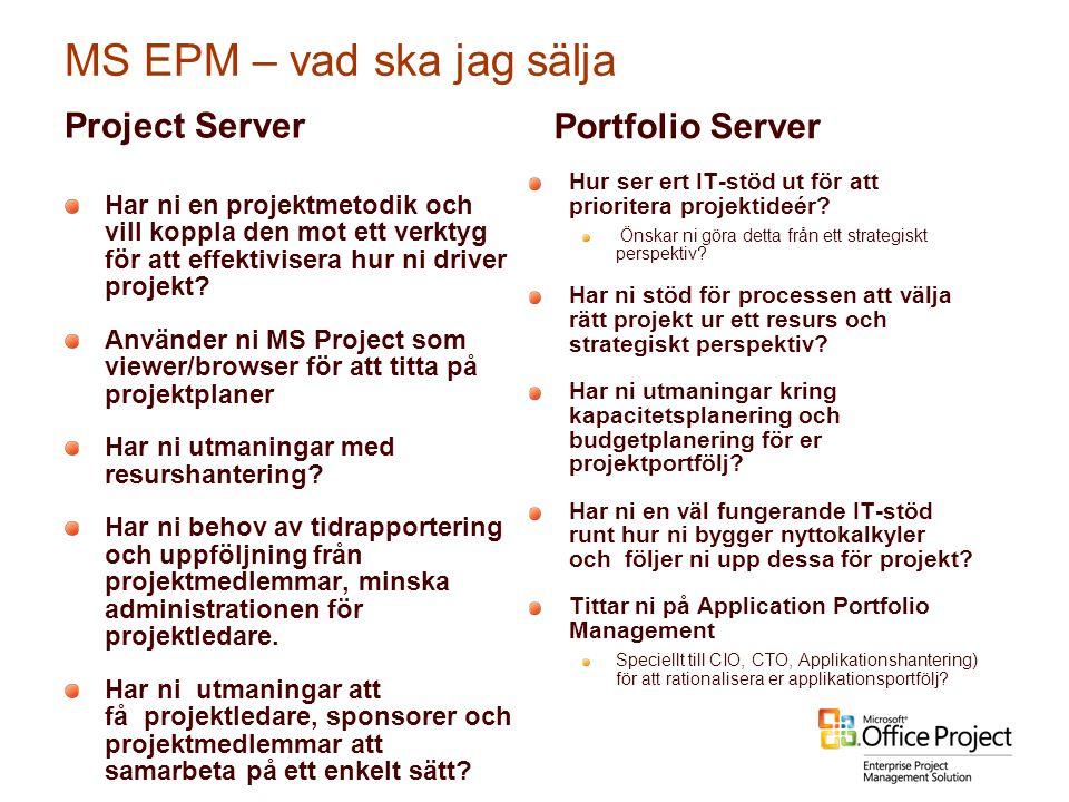 MS EPM – vad ska jag sälja Project Server Har ni en projektmetodik och vill koppla den mot ett verktyg för att effektivisera hur ni driver projekt? An
