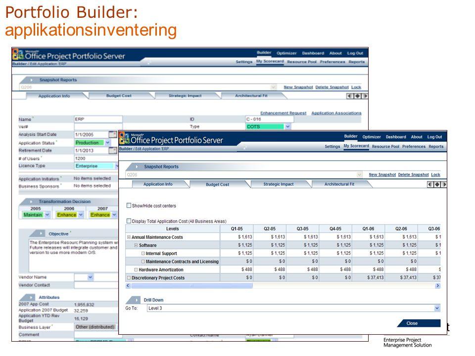 Portfolio Builder: applikationsinventering