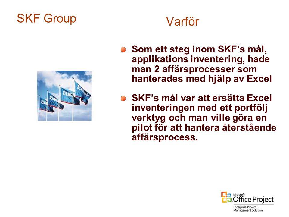 Som ett steg inom SKF's mål, applikations inventering, hade man 2 affärsprocesser som hanterades med hjälp av Excel SKF's mål var att ersätta Excel in